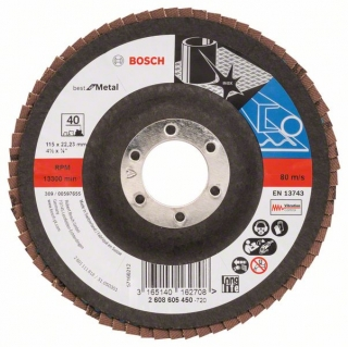 Bosch Fibrový brúsny kotúč X571, Best for Metal D = 115 mm; G = 40, uhlový 1ks 2608605450