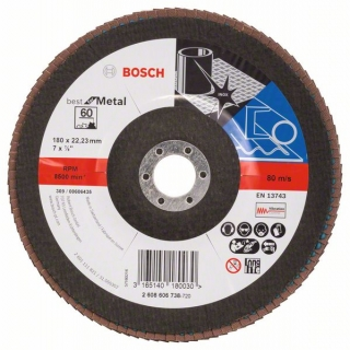 Bosch Fibrový brúsny kotúč X571, Best for Metal D = 180 mm; G = 60, uhlový 1ks 2608606738