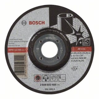 Bosch Obrusovací kotúč s prelisom Expert for Inox AS 30 S INOX BF, 125 mm, 6,0 mm 1ks 2608602488