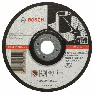 Bosch Obrusovací kotúč s prelisom Expert for Inox AS 30 S INOX BF, 150 mm, 6,0 mm 1ks 2608602489