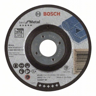 Bosch Obrusovací kotúč s prelisom Best for Metal A 2430 T BF, 115 mm, 7,0 mm 1ks 2608603532